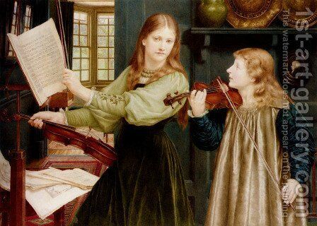 The Duet, Portrait Of Alexandra, Daughter Of Rev. G. Kitchin And Winifrid, Daughter Of The Painter by Henry Holiday - Reproduction Oil Painting