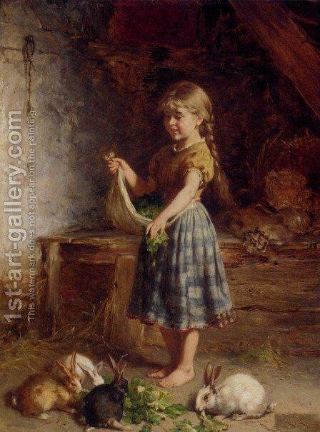Feeding The Rabbits by Heinrich Hirt - Reproduction Oil Painting