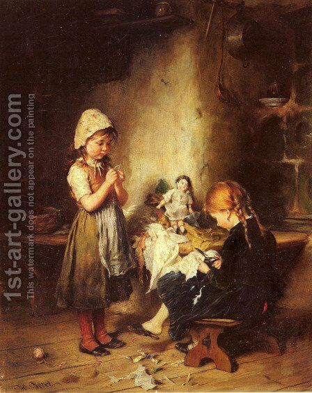 The Young Seamstresses by Heinrich Hirt - Reproduction Oil Painting