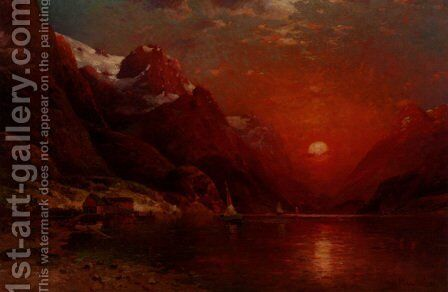 Sunset On The Lake by Ivan Fedorovich Choultse - Reproduction Oil Painting