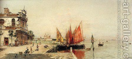 Fishing Boats On The Laguna by Antonio Maria de Reyna - Reproduction Oil Painting