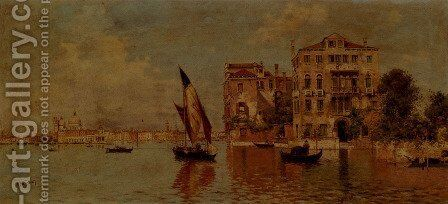 Venetian Canal by Antonio Maria de Reyna - Reproduction Oil Painting