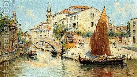 Venetian Canal Scene - Pic 2 by Antonio Maria de Reyna - Reproduction Oil Painting