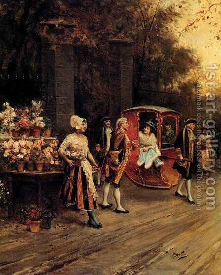 Flowers For The Lady by Alonso Perez - Reproduction Oil Painting