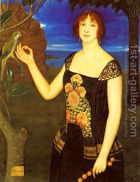 A Portrait Of A Lady With A Parakeet In A Tropical Landscape by Miguel Viladrich - Reproduction Oil Painting