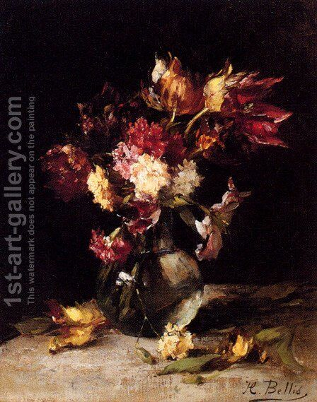 Still Life Of Tulips And Carnations In A Vase by Hubert Bellis - Reproduction Oil Painting