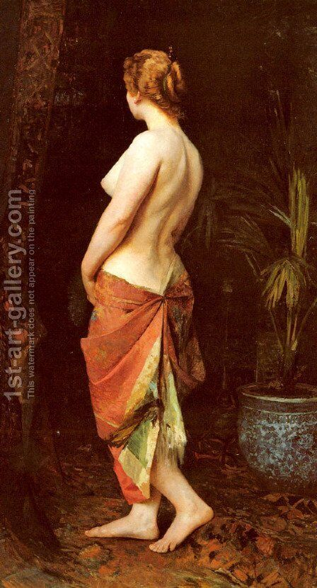 Standing Nude by Camille Wauters - Reproduction Oil Painting