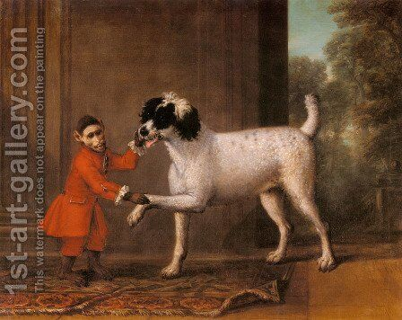 A Favorite Poodle And Monkey Belonging To Thomas Osborne, The 4th Duke of Leeds by John Wootton - Reproduction Oil Painting