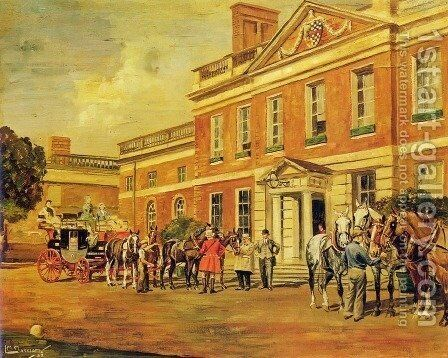 A Coach and Four Outside a Country House by Molly M. Latham - Reproduction Oil Painting