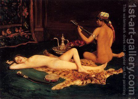 Reclining Odalisque by Hermann Fenner Behmer - Reproduction Oil Painting