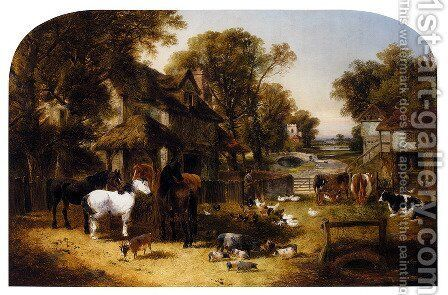 An English Farmyard Idyll by John Frederick Herring, Jnr. - Reproduction Oil Painting