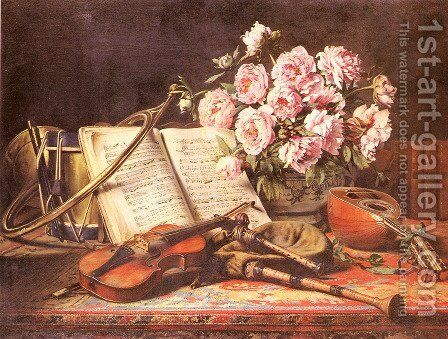 A Musical Still Life by Charles Antoine Joseph Loyeux - Reproduction Oil Painting