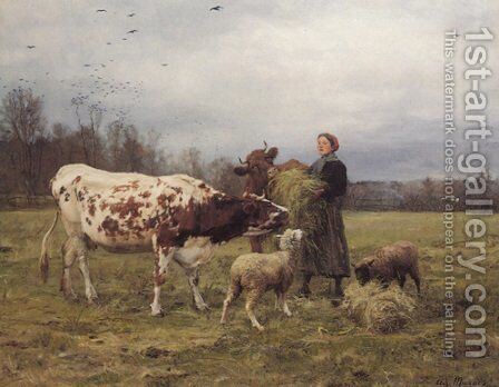 Wintertime with Cows and Sheep by Adolphe Charles Marais - Reproduction Oil Painting