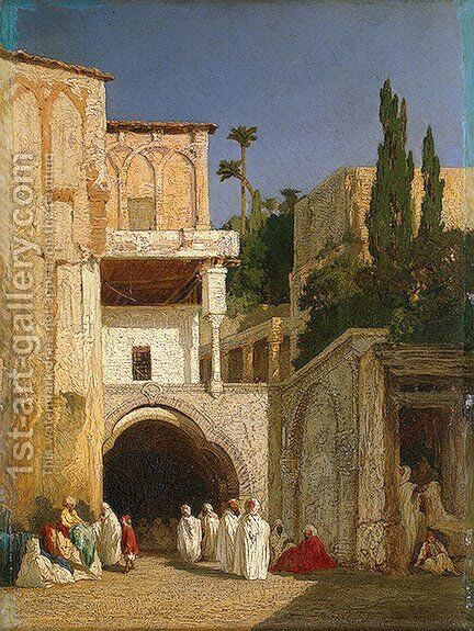 Before a Mosque (Cairo) by Alexandre Gabriel Decamps - Reproduction Oil Painting