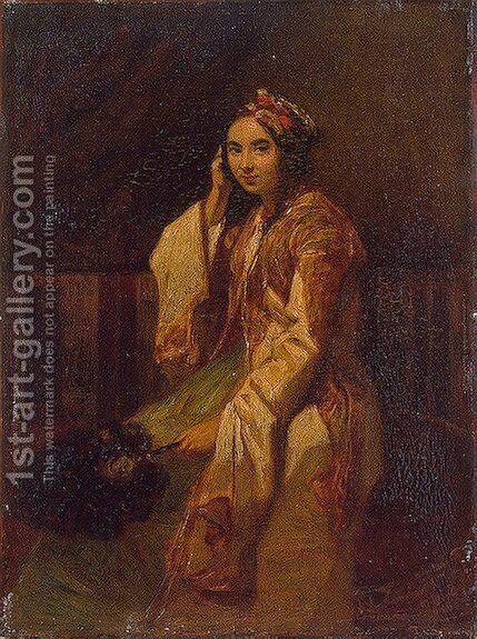 Woman in Oriental Dress by Alexandre Gabriel Decamps - Reproduction Oil Painting