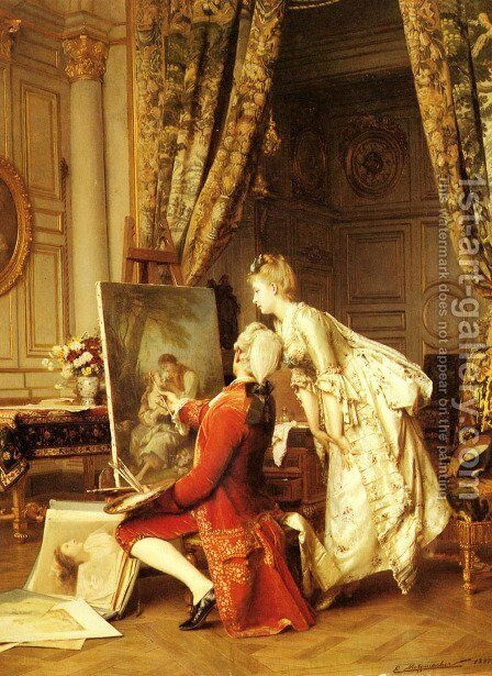 The Artist and his Admirer by Emile Pierre Metzmacher - Reproduction Oil Painting