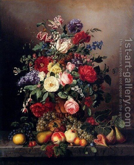 A Still Life With Assorted Flowers, Fruit And Insects On A Ledge by Amalie Kaercher - Reproduction Oil Painting