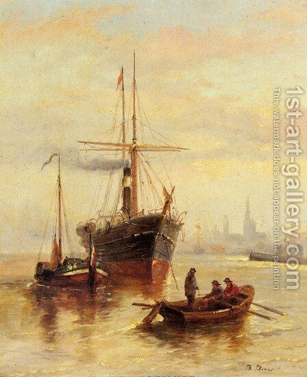 A Harbor Scene with a View of Venice by Bartolomeo Bezzi - Reproduction Oil Painting