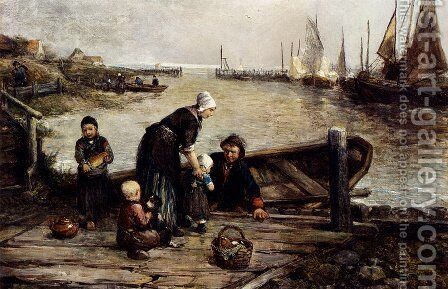 A Fisherman's Family, Marken by Johan Mari Ten Kate - Reproduction Oil Painting