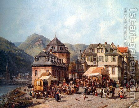 St. Goar am Rhein by Jacques Carabain - Reproduction Oil Painting