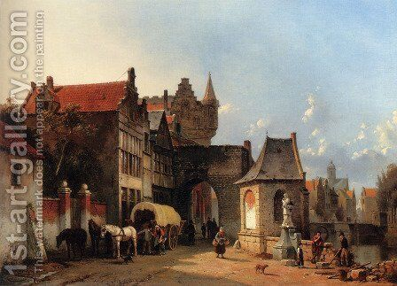 Figures By An Old City Gate by Jacques Carabain - Reproduction Oil Painting