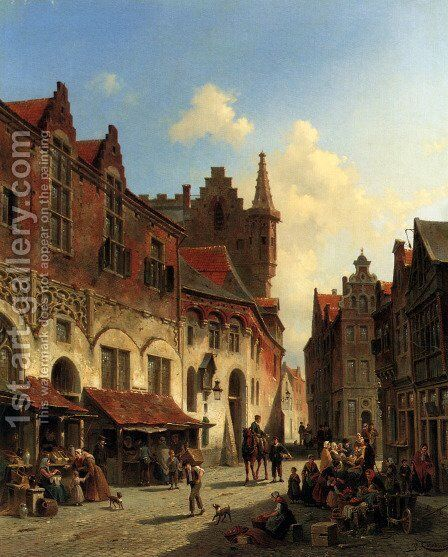 Morning In A Busy Market by Jacques Carabain - Reproduction Oil Painting