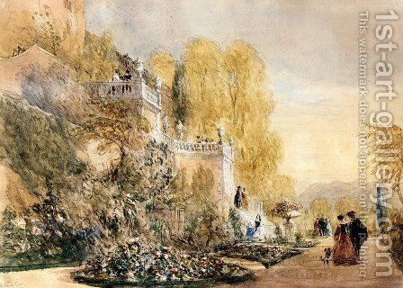 Figures On The Terraces At Powis Castle, Montgomeryshire by David Cox - Reproduction Oil Painting