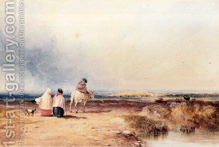 Travellers On A Country Track by David Cox - Reproduction Oil Painting