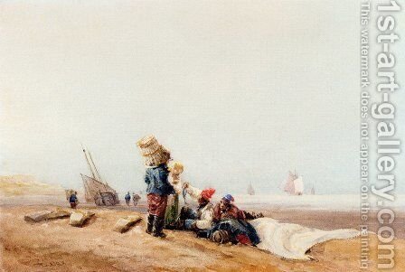 Fisherfolk On The Shore by David Cox - Reproduction Oil Painting