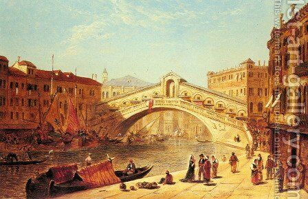A View of the Rialto Bridge, Venice by James Holland - Reproduction Oil Painting