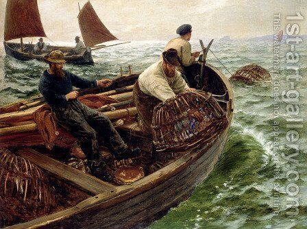 Lands End Crabbers by Charles Napier Hemy - Reproduction Oil Painting