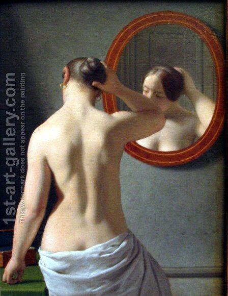 Woman Standing In Front Of A Mirror by Christoffer Wilhelm Eckersberg - Reproduction Oil Painting