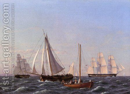Sailing Ships by Christoffer Wilhelm Eckersberg - Reproduction Oil Painting
