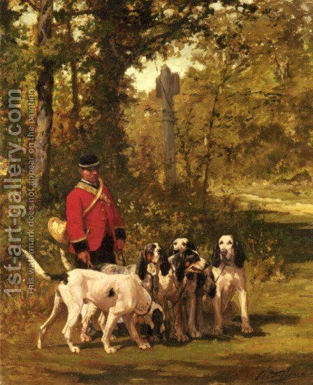 A Huntmaster with his Dogs on a Forest Trail by Charles Olivier De Penne - Reproduction Oil Painting