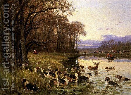 A Stag At Bay by Charles Olivier De Penne - Reproduction Oil Painting