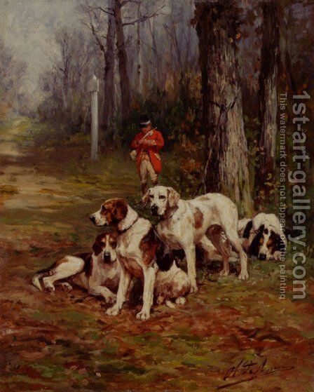 Hunting Dogs At Rest by Charles Olivier De Penne - Reproduction Oil Painting