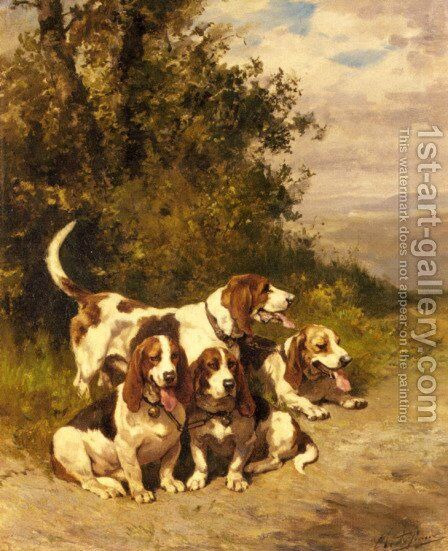 Hunting Dogs on a Forest Path by Charles Olivier De Penne - Reproduction Oil Painting