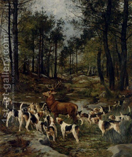 The Deer Hunt by Charles Olivier De Penne - Reproduction Oil Painting