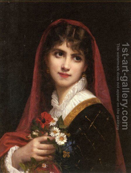 A Young Beauty wearing a Red Veil by Gustave Doyen - Reproduction Oil Painting