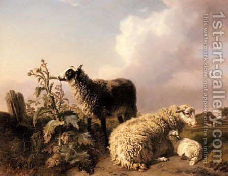 Les Moutons by Edmond Jean Baptiste Tschaggeny - Reproduction Oil Painting