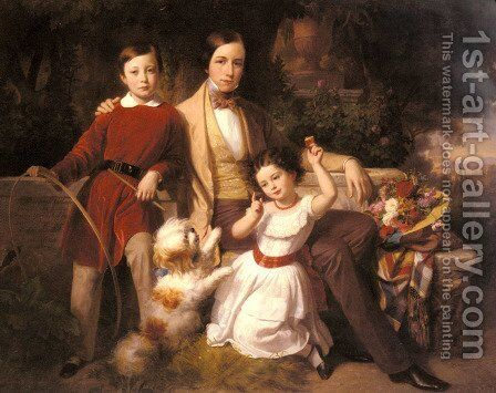 Group Portrait With The Prince Valmontone, Gwendalina Doria-Pamphili And Bertram Talbot, In A Villa Garden by Carl Von Blaas - Reproduction Oil Painting