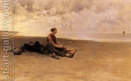 Daydreaming On The Beach by August Wilhelm Nikolaus Hagborg - Reproduction Oil Painting
