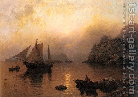 Fishing Party At Sunrise by Hans Fredrik Gude - Reproduction Oil Painting