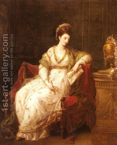 Portrait of Louise Henrietta Campbell, Later Lady Scarlett, as The Muse of Literature by Angelica Kauffmann - Reproduction Oil Painting