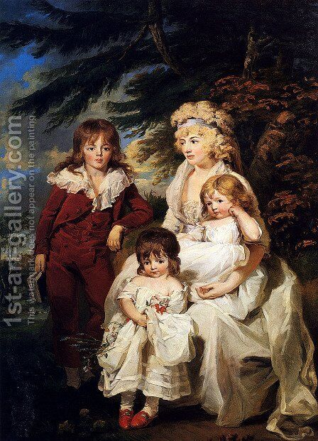 Portrait Of The Hon. Juliana Talbot, Mrs Michael Bryan (1759-1801), With Her Children Henry, Maria And Elizabeth by James Ward - Reproduction Oil Painting