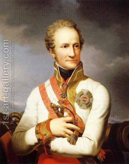 A Portrait of Johann II Von Liechtenstein (1760-1836) by Johann Baptist the Younger Lampi - Reproduction Oil Painting