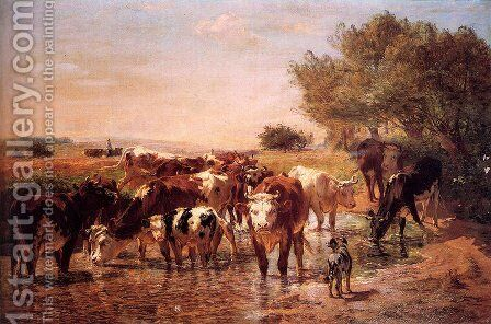 The Watering Hole by Giuseppe Palizzi - Reproduction Oil Painting