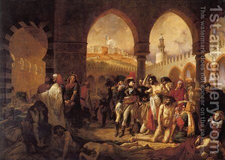 Bonaparte Visiting the Pesthouse in Jaffa, March 11, 1799 by Antoine-Jean Gros - Reproduction Oil Painting