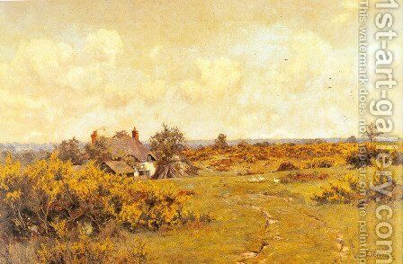 A gaggle of geese on a fram track in a Surrey landscape, a cottage beyond by Edward Wilkins Waite - Reproduction Oil Painting