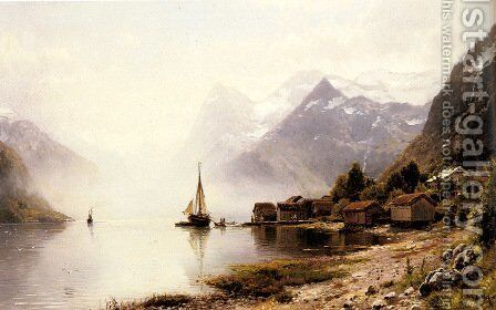 Norwegian Fjord with Snow Capped Mountains by Anders Monsen Askevold - Reproduction Oil Painting